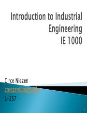 Intro. to Industrial Eng. (Meeting 1)