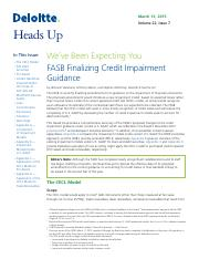 FASB Finalizing Credit Impairment Guidance 031315