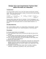 Factors That Affect the Rate of Reaction Lab