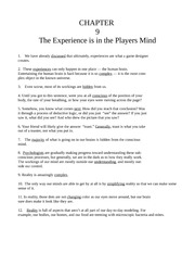 Chapter Nine -The Experience is in the Players Mind