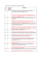 Answer Key for Comprehensive Grammar CheckPoint