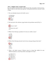 Chem 121 110- Midterm II 2009 Answers