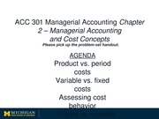 PreClass C2 Lecture - Managerial Accounting and Cost Concepts