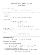 MA 225 Spring 2015 Test 1 Version A Solutions