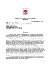 bible 110 course syllabus Course syllabus letter to class  mark, and luke: the synoptic gospels  do a little extra research --- either on the web, in the library, or in your bible,.