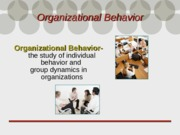 Chapter 1- Organizational behavior Introduction