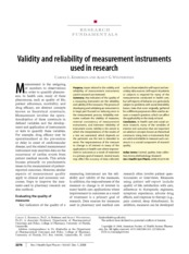 Validity and reliability of measurement instruments