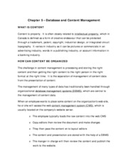 Chapter 5 - Database and Content Management (Summary Notes)