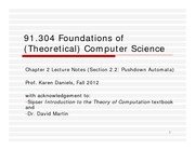 Lecture Notes F on Foundations of Computer Science