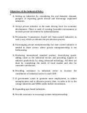 Objectives of the Industrial Policy
