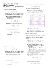 Exam 1 Version B on Differential Equations