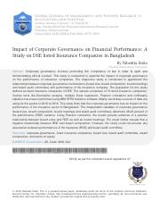 7. JOURNAL IMPACT OF CORPORATE GOVERNANCE OF FINANCIAL PERFORMANCE ON DSE LISTED INSURANCE COMPANIES