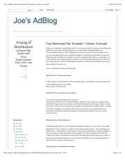 Joe's AdBlog: Free Marketing Plan Template : Outline : Example.pdf