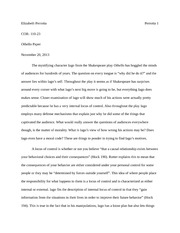 Concepts of the Self- Othello Essay