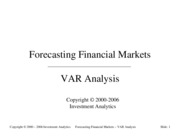 Forecasting 2001- VAR Analysis