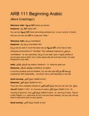 ARB 111 Beginning Arabic (Greetings)