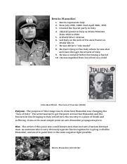 Benito Mussolini One Pager
