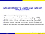 Lecture 1 - Linear + Integer Programming