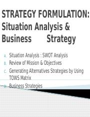 IV- STRATEGY FORMULATION