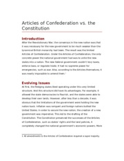 an introduction to the role of the articles of confederation The shape of the new government, as established by the articles of confederation was largely influenced by the radicals' point of view the articles were submitted to the states for ratification in the midst of war with great britain.