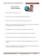 Human Population Growth Worksheet Answer Key ...
