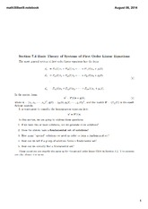 Lecture 9 Set on Basic Theory of Systems of First Order Linear Equations