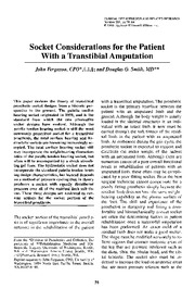 Socket considerations for patients with a transtibial amputation