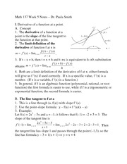 Math 137 Fall 2013 Week 5 Notes