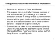 Energy Resources & Environmental Implications