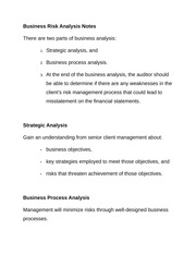 Business Risk Analysis Notes