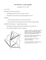 Lecture Notes on Greedy Algorithms