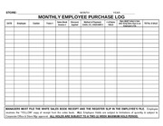 15 MONTHLY EMPLOYEE PURCHASE LOG