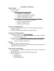 Ground Rules of Metabolism - Notes