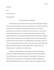 Essay on Hawthorne, Emerson, and Billy Budd