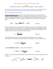 Acid and Base Calculations Worksheet Lab