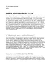 mosaics reading and writing essays answers