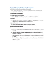 Chapter 4 Notes - Marketing Environment Analysis