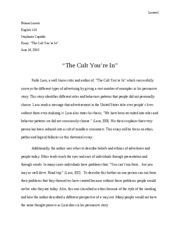 Final paper for the cult ur in