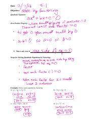 SM2 5.1 solve quadratics by factoring notes filled in