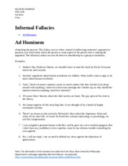 CBC PHIL 1320 Informal Fallacies Handout from TxStPhilDeptPage