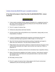 Liberty University BUSI 301 quiz 1 complete solutions