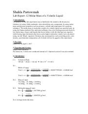 molecular mass of a volatile liquid lab