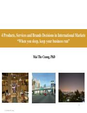 4 Product, Service and Brand Decisions in International Markets