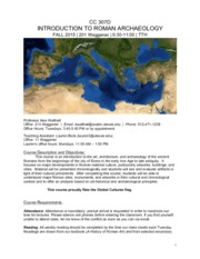 SYLLABUS - CC307D_Intro to Roman Archaeology_Fall 2015