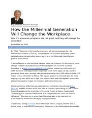 How the Millennial Generation Will Change the Workplace - OB Research