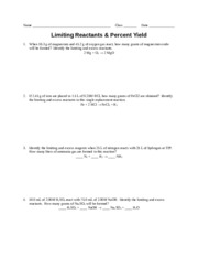 Worksheet - Lim Reactants & Per Yield (Pre-AP)