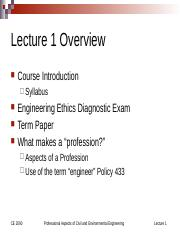Lecture 1 CE 2090 What is a Profession2012017