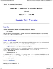 Lecture 16 - Character Array Processing