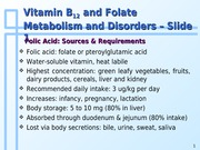 Topic 6c - Vitamin B12 and Folate Metabolism and Disorders