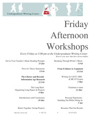 Friday Afternoon workshops spring